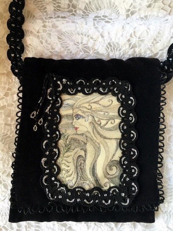 Black Velvet Evening Bag* Handmade*Georgous Fairy Mermaid with Glittering Silver Flowing Hair*Wedding, Cocktail, Party, Handbag, Clutch