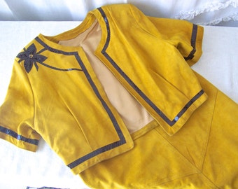 Mustard Yellow Garment Suede Split Hide Vintage Handmade 1980s