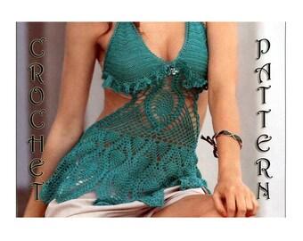 Crochet high neck Bikini beachwear Top, hobo, festival Pineapple Pattern IN CHARTS only in PDF Files.