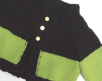 Fashionista Toddler Hand Knit Sweater — Black & Pistachio