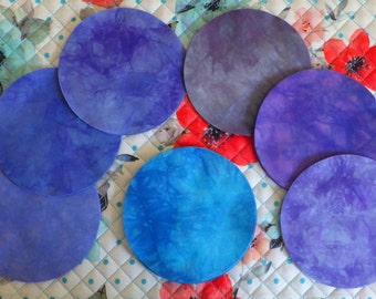 5 Inch Precut Fabric Circles, PURPLES & BLUE, 45 Hand Dyed Die-Cut Circles, 100% Cotton, Pre-Shrunk