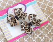Leopard Pigtail Set, Leopard Piggy Set, Infant Bows, Baby Bows, Toddler Bows, 2.5 Inch Bows