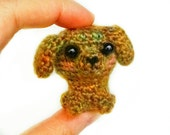 Kawaii Mini Puppy Dog Plush/ Amigurumi Brown Orange And Green Crocheted Doll / Dollhouse Miniature Or BJD Prop Pet Accessory / Tiny Toy OOAK
