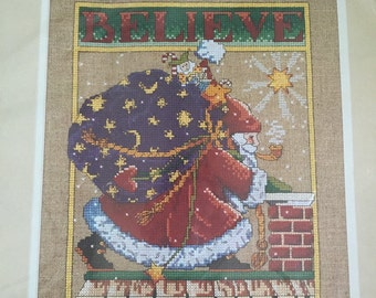 """Vintage Dimensions Mary Engelbreit's """"Believe"""" counted cross stitch kit"""