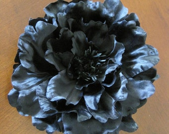 "Full 6"" Black Peony Poly Silk Flower Hair Clip,Rockabilly,Formal,Goth"
