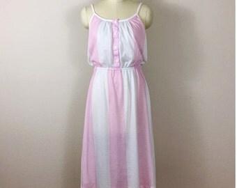 80's Vintage Pink Striped Sundress, New wave Punk Dress, Size Medium