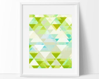 triangles art, triangles, geometric art, geometric artwork, lime green, mint, mint and green, minimal artwork, graphic design, illustration
