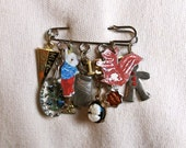 Nathalie Lete Bunny and Suirrel Painting Brooch - Charm Collection - Hippie Chic - Founded Objects - Treasure Lot
