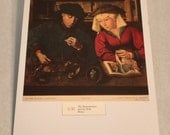 """1937 Art Print """"The Moneylender and his Wife"""" by Quentin Matsys"""