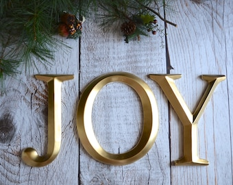 "JOY 12""  Letters wall art decor Holiday Home Decor Gold Christmas display metallic faux"