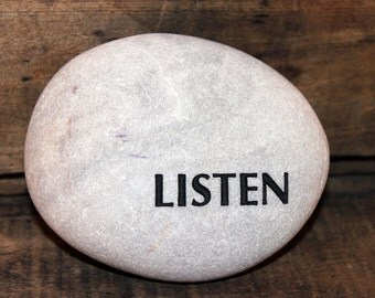 Engraved Natural Oval, Smooth River Stone - LISTEN
