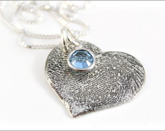 Custom Fingerprint or Thumbprint Heart Necklace with Your Actual Prints | Sterling Silver Etched Jewelry with Birthstone
