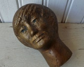 Bronze Head Bust Sculpture. Signed RIGA. Vintage 1960s. Mid Century Modern Original Art. Androgynous Man or Woman Figure.
