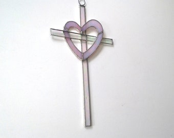 Pink Heart Stained Glass Cross