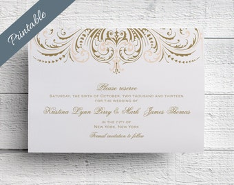 Blush and Gold Wedding Save the Date Printable