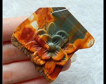 Carved Multi-Color Picasso Jasper Gemstone  Flower Pendant Bead,57x51x6mm,17.6g