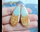 Picture Jasper,Amazonite Intarsia Gemstone Earring Bead,42x16x4mm,8.7g