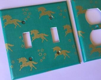 Unicorn Light Switch Cover / Double Light Switch Plate / Gold Nursery Decor / Gold Home Decor / Unicorn Decor / Teen Room Decor / Teal Decor