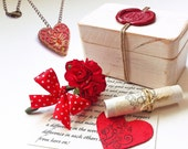 Valentines gift for Girlfriend, Red Heart Necklace in a Treasure box of love, Long distance gift for her