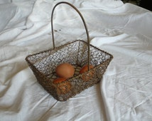 Wire Egg Basket, Antique Wire Container, rustic metal basket, antique french kitchen, small rusty box, egg carrier, provincial french home