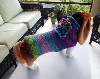 Dog Coat Hand Knit Gracie NORO Large 17 inches long Noro Merino Wool