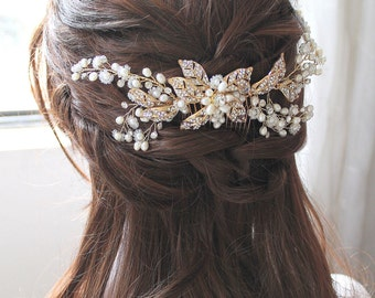 Gold Bridal Freshwater Pearl Headpiece. Bohemian Leaf Vine Crystal Hair Comb. Gold Rhinestone Wedding Hair Wreath.  SABRINA