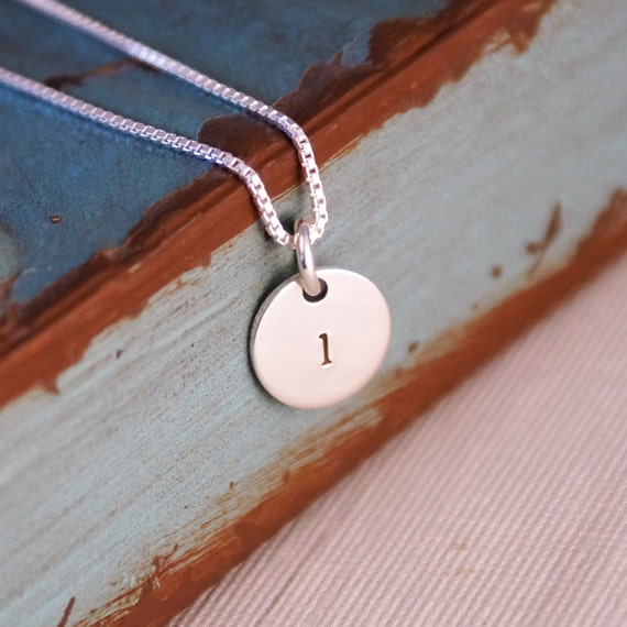 Hand Stamped Necklace -  Personalized Sterling Silver Jewelry - Teeny Initial Tag Necklace
