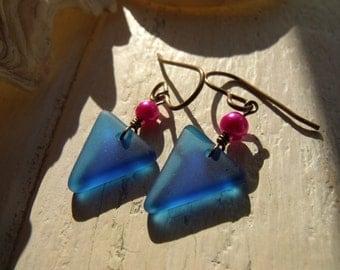 Bright blue tumbled glass drop earrings, Sterling silver, Tumbleworn, Sea Glass finish