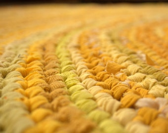 Large Crochet rag rug 6' 10'', yellow, pale beige,gold