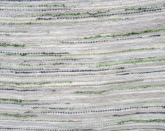 Handwoven  vintage look, rag rug  3.57 ' x 7' , beige, tan, green, grey, ready for sale