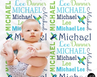 Personalized baby gift blanket with airplane, baby boy shower gift, boy gift, lime and navy personalized baby blanket