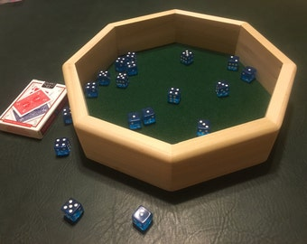 Large Wooden Octagon Dice Tray