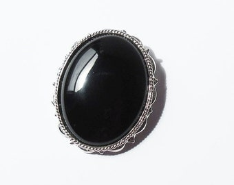 on sale Sterling Silver Pin with Black Glass Vintage Sterling Pin USA Sterling