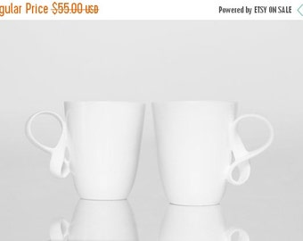 SALE MOBIUS cups, set of two, white china mugs for coffee or tea handmade by ENDE
