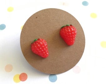 Titanium Strawberry Earrings, hypoallergenic posts
