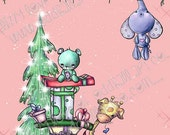 INSTANT DOWNLOAD Happy Holidays Kawaii Digital Stamp Stuffies ~ Hanging Around the Holidays No.277 by Lizzy Love