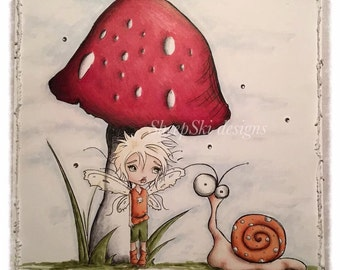 INSTANT DOWNLOAD Digital Stamp Cute Big Eye Boy Fairy with Mushroom and Snail - Pixie Pete Image No.306 by Lizzy Love