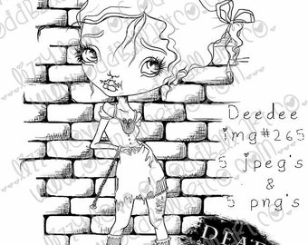INSTANT DOWNLOAD Digi Stamp Includes Sentiment Creepy Cute Big Eye Girl In Chains ~ Deedee Image No.265 by Lizzy Love