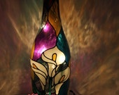 White Calla Lily painted Wine Bottle Light Lamp