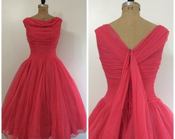 Vintage 1950's Hot Pink Formal Dress 50's Wedding Party Dress