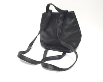 90s black LEATHER bucket backpack