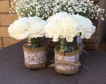 Mason Jar Wrap, White Lace & Burlap, Mason Jar Decoration, Baby Shower, Party,  Wedding Decoration