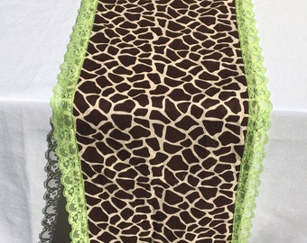 Giraffe Table Runner With Green Lace Trim, READY To SHIP, Baby Shower, Party