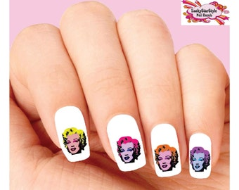 Waterslide Nail Decals Set of 20 - Colorful Andy Warhol Marilyn Monroe Assorted