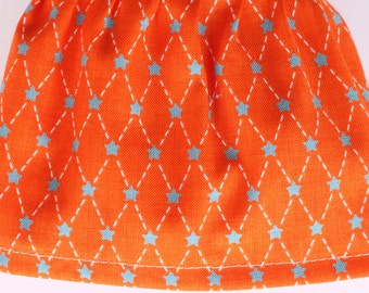 Blue Stars on Orange Fabric Cuff - Fancy Ruffled Rubber Gloves - Cleaning Gloves - Dishwashing Gloves