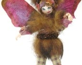 Handmade Fun Fur Fairy Doll with Handpainted Face & Velvety Wings