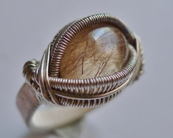 Very Nice Rutilated Quartz Cab in Silver Wire-Wrapped Ring,  size 8