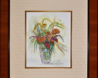 Watercolor Bouquet in Glass Vase...Framed