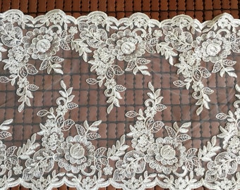 Ivory Alencon Lace Fabric Floral Wedding Lace Fabric Dress Coat Fabric 12 Inches Wide 1 Yard