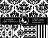 50% off Printable Damask Paper Pack 4 - 5 Printable Digital scrapbooking papers - 12 x12 - 300 DPI
